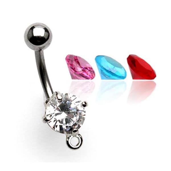 """Navel Belly Button Ring with Prong set Round CZ and O-ring for add on Charms- 14 GA 3/8"""" Long - Clear"""