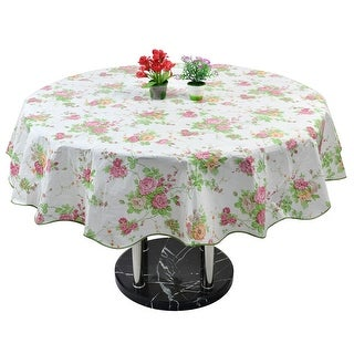 Home Picnic Round Rose Pattern Oil-proof Tablecloth Table Cloth Cover Pink 60""