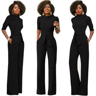 Solid Color Five-Point Sleeve Stand-Up Wide-Leg Pants