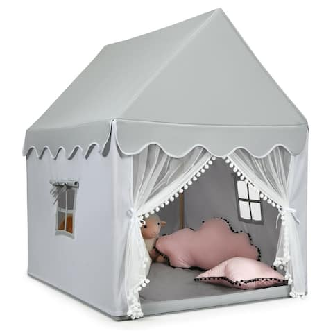"""Kids Large Play Castle Fairy Tent with Mat-Gray - 41"""" x 47"""" x 55"""" (L x W x H)"""