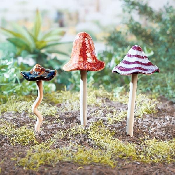 Shop Art Artifact Ceramic Mushroom Garden Stakes Set Of 3 Hand