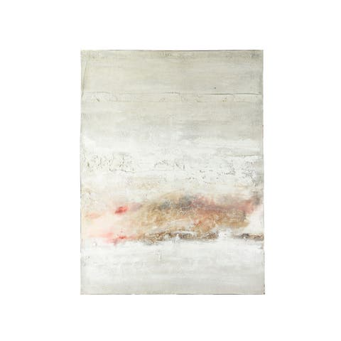 "47.25""H Hand-Painted Abstract Canvas Wall Decor - Beige"