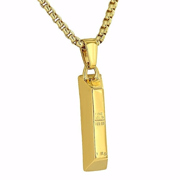 Mens Gold Bar Design Pendant 18K Gold Tone Free Stainless Steel Box Chain