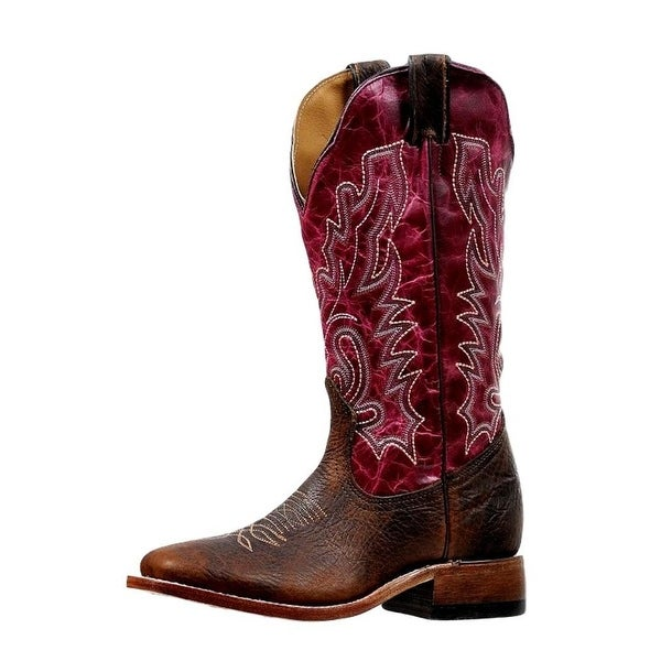 Boulet Western Boots Womens Stockman Wide Square Bison Old Town