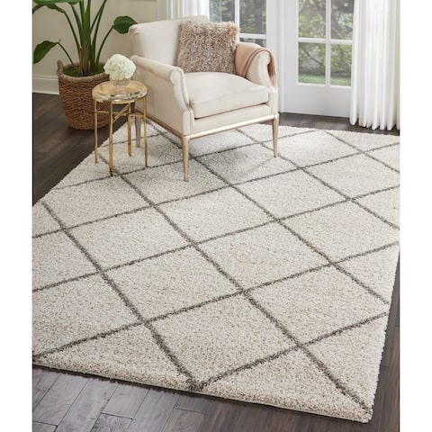 Nourison Brisbane Large Diamond Geometric Modern Shag Area Rug