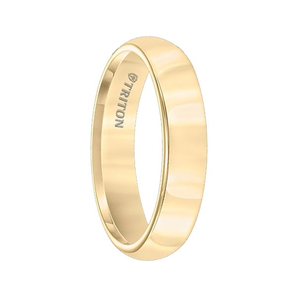 MELINDA Domed Yellow Gold Plated Womens Tungsten Carbide Ring with Polished Finish by Triton Rings - 5mm