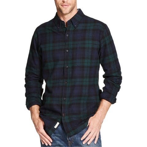 Weatherproof Mens Plaid Brushed Flannel Button Up Shirt, red, Small