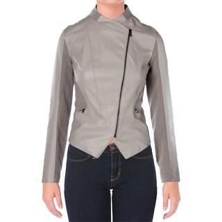 T Tahari Womens Orianna Jacket Faux Leather Asymmetric