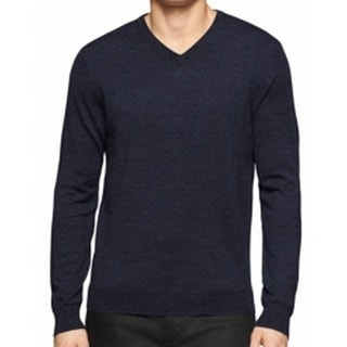 Calvin Klein NEW Navy Blue Mens Size XL V-Neck Ribbed-Trim Wool Sweater