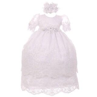 RainKids Little Girls White Puff Sleeve Headband 3 Pc Baptism Gown Set