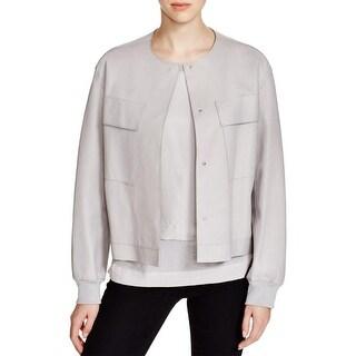 DKNY Womens Bomber Jacket Lambskin Leather Pockets - s