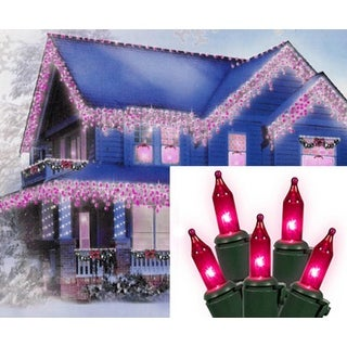 Set of 100 Pink Mini Icicle Christmas Lights - Green Wire
