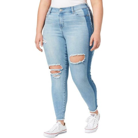Celebrity Pink Womens Jeans Blue Size 16 Stretch Skinny Two-Tone Ripped