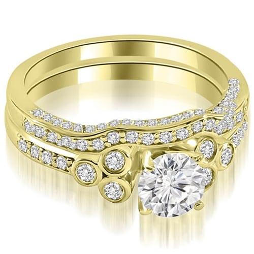 1.19 cttw. 14K Yellow Gold Round Cut Diamond Bridal Set