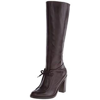 Derek Lam 10 Crosby Womens Meredith Leather Stacked Heel Knee-High Boots