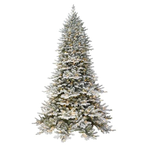 NEW! Puleo Intl. 7.5' ROYAL MAJESTIC Douglas Fir Downswept Flocked Tree, REAL LIFE MOLDED TIPS and SURE-LIT POLE, 800 UL Lights
