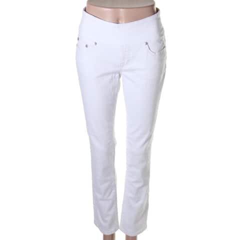 Jag Jeans Womens Petites Peri Straight Leg Jeans Mid-Rise Denim - White - 2P