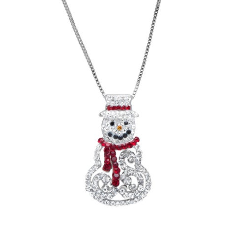 Crystaluxe Snowman Pendant with White and Red Swarovski Crystals in Sterling Silver