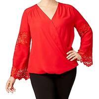 INC Red Women's Size 3X Plus Surplice-Neck Lace-Sleeve Blouse