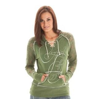 Cowgirl Tuff Western Sweatshirt Women Hoodie Crochet Lace Green F00242