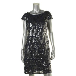 Adrianna Papell Womens Petites Sequined Sheath Cocktail Dress - 4P