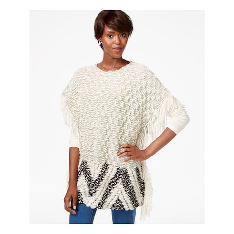 BAR III Womens White Fringed Sleeveless Jewel Neck Sweater Size S