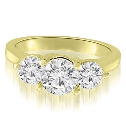 2.00 cttw. 14K Yellow Gold Classic Three-Stone Round Cut Diamond Engagement Ring