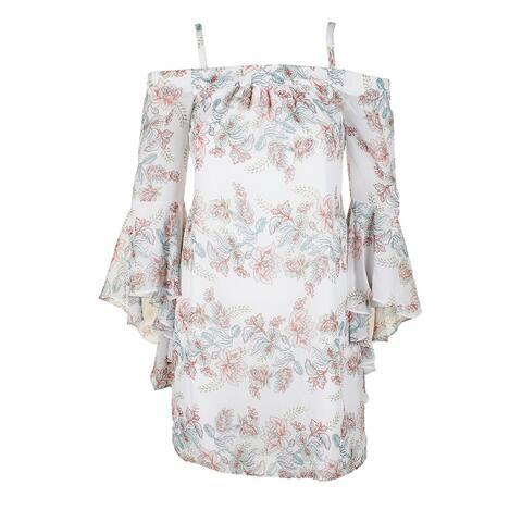 Kensie White Multi Angepl-Sleeve Off-The-Shoulder Floral Print Shift Dress 2
