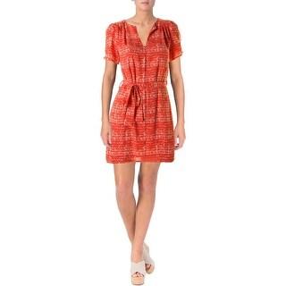Aqua Womens Juniors Casual Dress Short Sleeves Mini