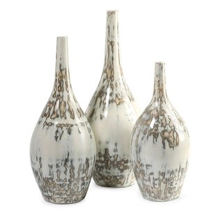Set of 3 Decorative Distressed Eggshell Mexican Inspired Clay Vases