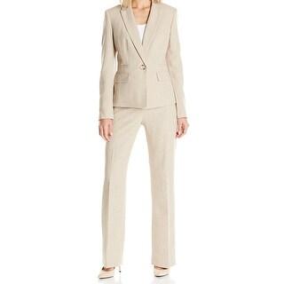 Le Suit NEW Tan Beige Womens Size 16 Single Button Tweed Pant Suit