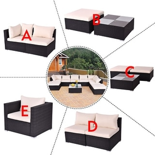 Costway Black Outdoor Patio Rattan Furniture Set Infinitely Combination Cushion Wicker