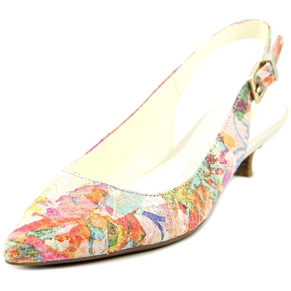 Anne Klein Expert Women Pointed Toe Leather Multi Color Slingback Heel