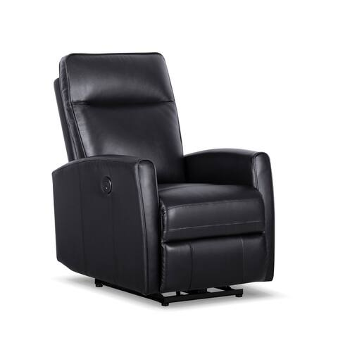 Malmo Leather/Vinyl Power Recliner with USB Port in Black