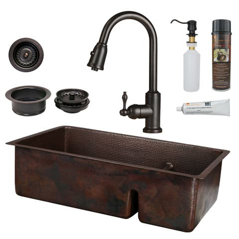 Premier Copper Products KSP2_K70DB33199-SD5 Kitchen Sink, Pull Down Faucet and Accessories Package