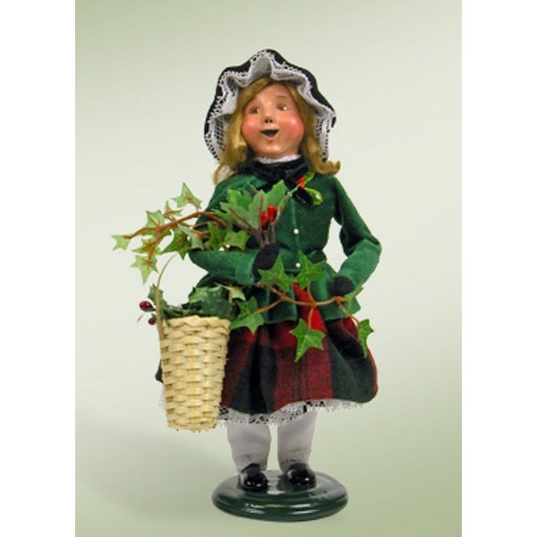 "10"" Victorian Inspirations Girl with Holly & Ivy Christmas Table Top Decoration"