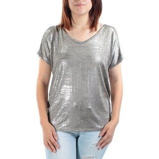 Womens Gold Short Sleeve V Neck Tunic Top Size S