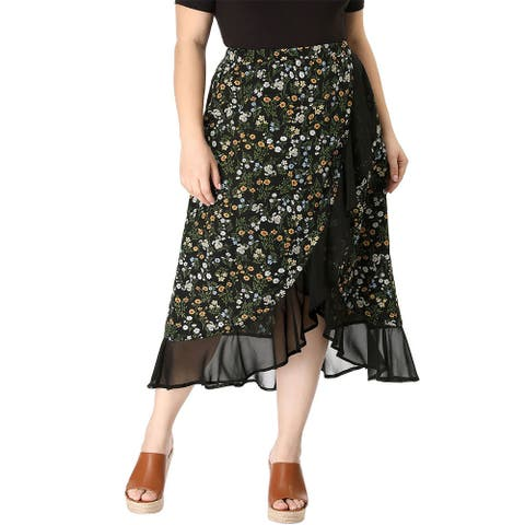 Women's Plus Size Floral Elastic Waist Ruffle Wrap Midi Skirt - Black