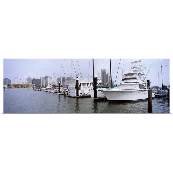 """""""Yachts at a harbor with buildings in the background, Corpus Christi, Texas"""" Poster Print"""