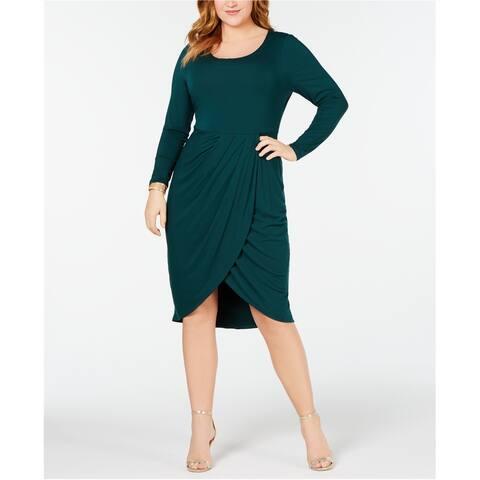 Soprano Womens Tulip Hem Jersey Dress, Green, 3X