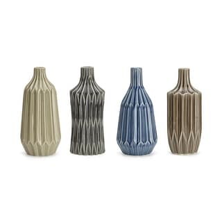 Finely Trimmed Glazed Ceramic Vases ortment of 4 Multicolor