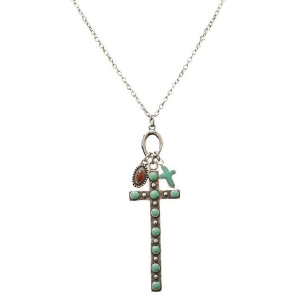 """Angel Ranch Western Jewelry Women Necklace Cross Oval 29"""" Silver N0957"""
