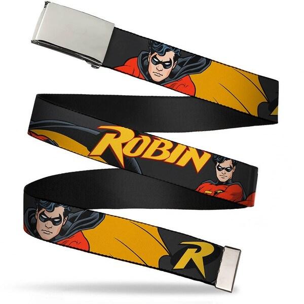 Blank Chrome Buckle Robin Red Black Poses Gray Webbing Web Belt