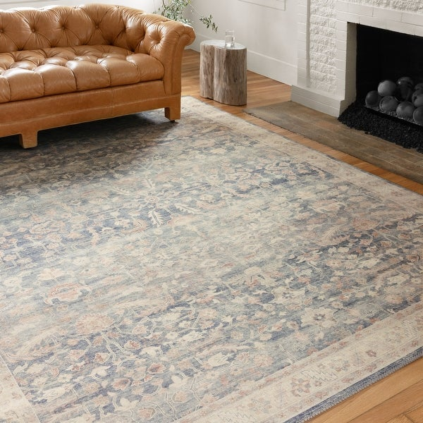 Alexander Home Venetian Printed Botanical Distressed Area Rug