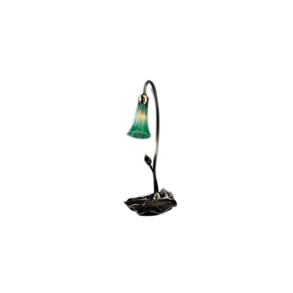 Meyda Tiffany 12859 Stained Glass / Tiffany Desk Lamp from the Lilies Collection - Green - N/A