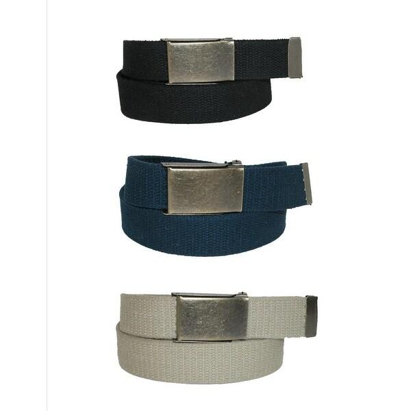 CTM® Men's Big & Tall Belt with Flip Top Brass Buckle (Pack of 3)