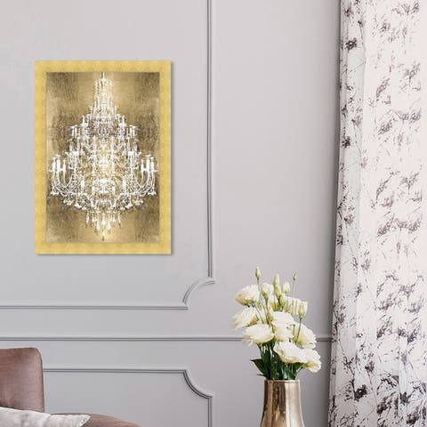 Oliver Gal 'Montecarlo Gold' Fashion and Glam Framed Wall Art Prints Chandeliers - Gold, White
