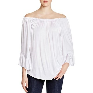 Cupio Womens Peasant Top Jersey Ruched Neck