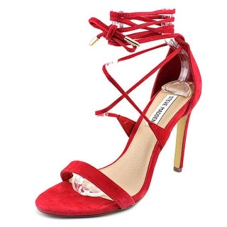Steve Madden Presidnt Women Open Toe Suede Red Sandals