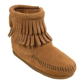 Minnetonka Children's Side Zip Double Fringe Taupe Suede